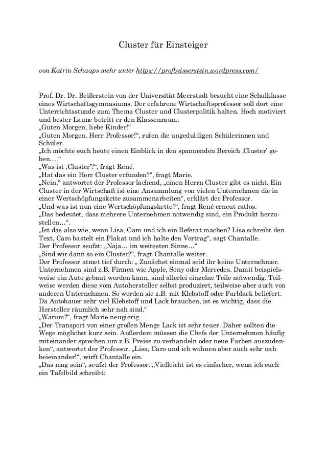 Cluster für Einsteiger von Katrin Schaaps mehr unter https://profbeisserstein.wordpress.com/ Prof. Dr. Dr. Beißerstein von...