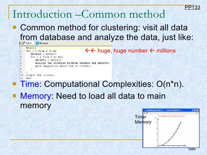 Introduction –Common method <ul><li>Common method for clustering: visit all data from database and analyze the data, just ...