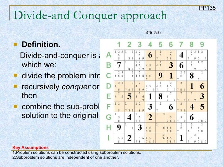 Divide-and Conquer approach <ul><li>Definition.   </li></ul><ul><li>Divide-and-conquer is a problem-solving approach in wh...