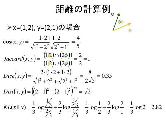 距離の計算例 x=(1,2), y=(2,1)の場合                      82.22log 3 1 1 2 log 3 2 2 1 log 3 1 3 1 3 2 log 3 ...