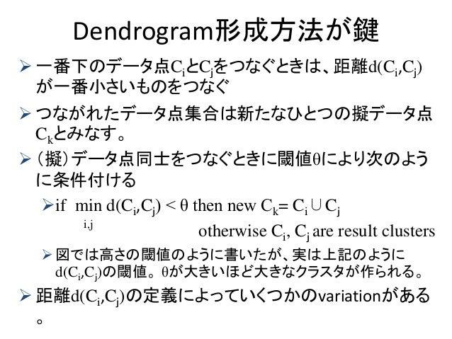 Dendrogram形成方法が鍵  一番下のデータ点CiとCjをつなぐときは、距離d(Ci,Cj) が一番小さいものをつなぐ  つながれたデータ点集合は新たなひとつの擬データ点 Ckとみなす。  (擬)データ点同士をつなぐときに閾値θによ...