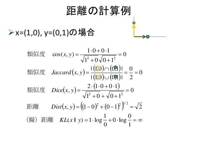距離の計算例 x=(1,0), y=(0,1)の場合                                    1 0 l...
