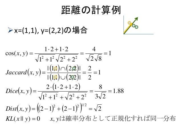 距離の計算例 x=(1,1), y=(2,2)の場合                      化すれば同一分布は確率分布として正規yxyxKL yxDist yxDice yxJaccard yx...
