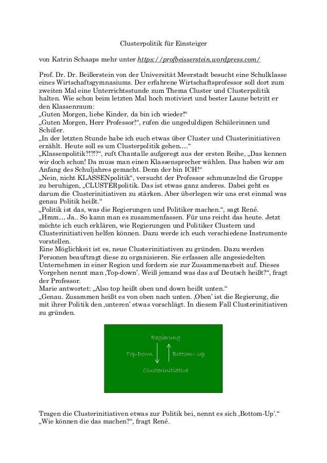 Clusterpolitik für Einsteiger von Katrin Schaaps mehr unter https://profbeisserstein.wordpress.com/ Prof. Dr. Dr. Beißerst...
