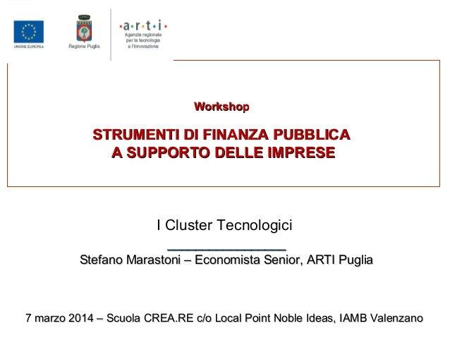 WorkshopWorkshop STRUMENTI DI FINANZA PUBBLICASTRUMENTI DI FINANZA PUBBLICA A SUPPORTO DELLE IMPRESEA SUPPORTO DELLE IMPRE...