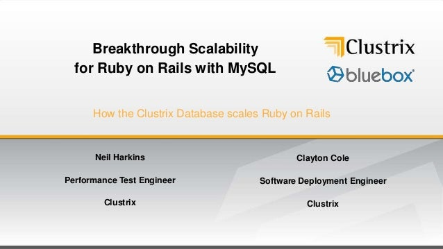Breakthrough Scalability  for Ruby on Rails with MySQL      How the Clustrix Database scales Ruby on Rails      Neil Harki...