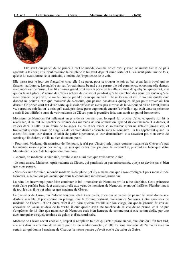LA n° 1           La Princesse de           Clèves,          Madame de La Fayette              (1678)         Elle avait o...