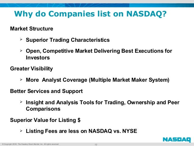 © Copyright 2004, The Nasdaq Stock Market, Inc. All rights reserved. 13 Market Structure  Superior Trading Characteristic...