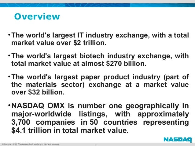 © Copyright 2004, The Nasdaq Stock Market, Inc. All rights reserved. Overview •The world's largest IT industry exchange, w...