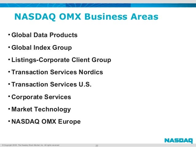 © Copyright 2004, The Nasdaq Stock Market, Inc. All rights reserved. NASDAQ OMX Business Areas • Global Data Products • Gl...