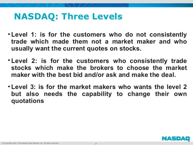 © Copyright 2004, The Nasdaq Stock Market, Inc. All rights reserved. NASDAQ: Three Levels • Level 1: is for the customers ...