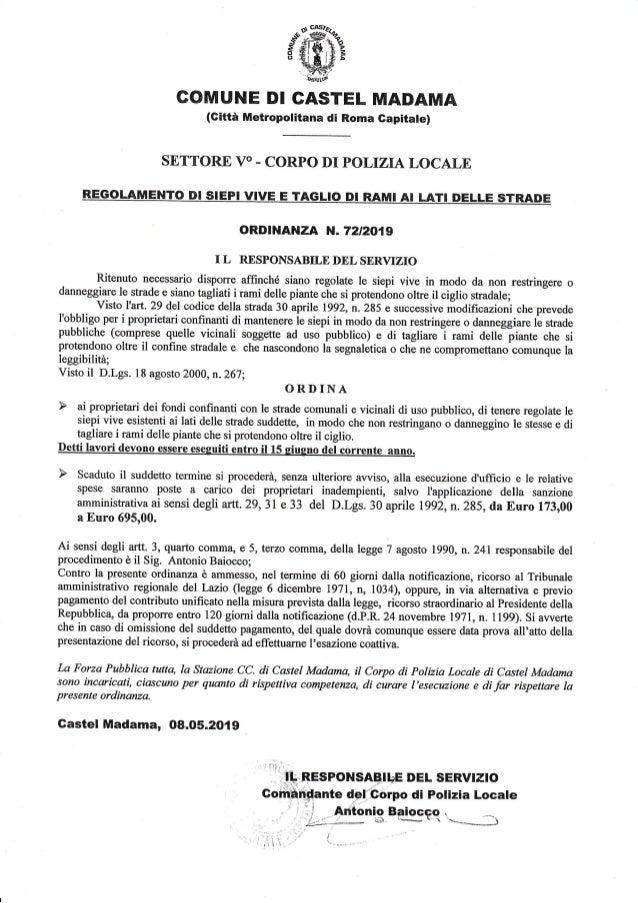 GONIUNE DI GASTEL MADAMA (Gifta Metropotitana di Rorna Gapitate) SETTORE VO . CORPO DI POLIZIA I,OCAI-,E R,EGOLAMENTO BI S...