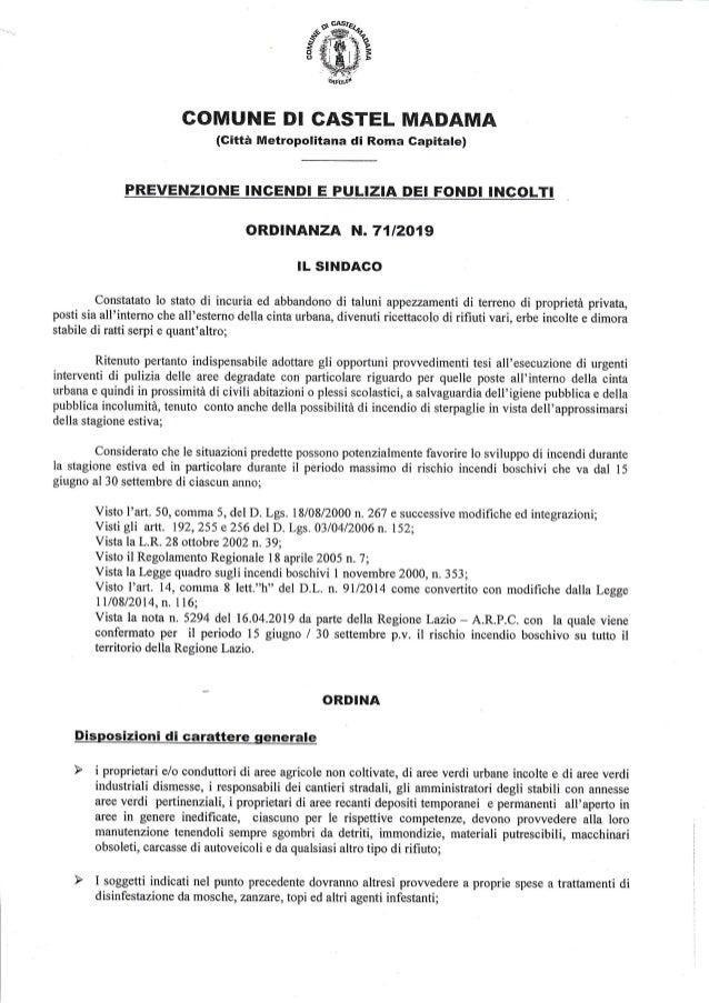 COMUNE DI CASTET MAT}AMA (Gitta Metropolitana di Roma Gapitale) PREVENZIONE INCENDI E PULIZIA DEI FONDI INGOLTI ORDINANZA ...