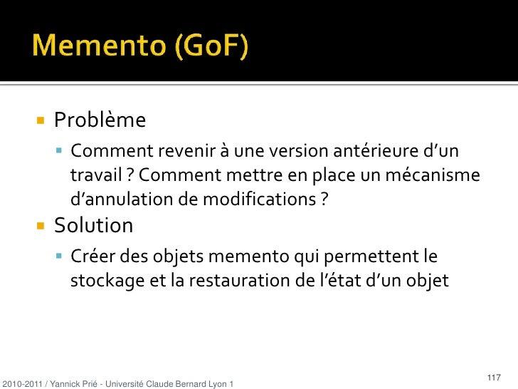 Les dépendances sont directement liées au couplage</li></ul>2010-2011 / Yannick Prié - Université Claude Bernard Lyon 1   ...