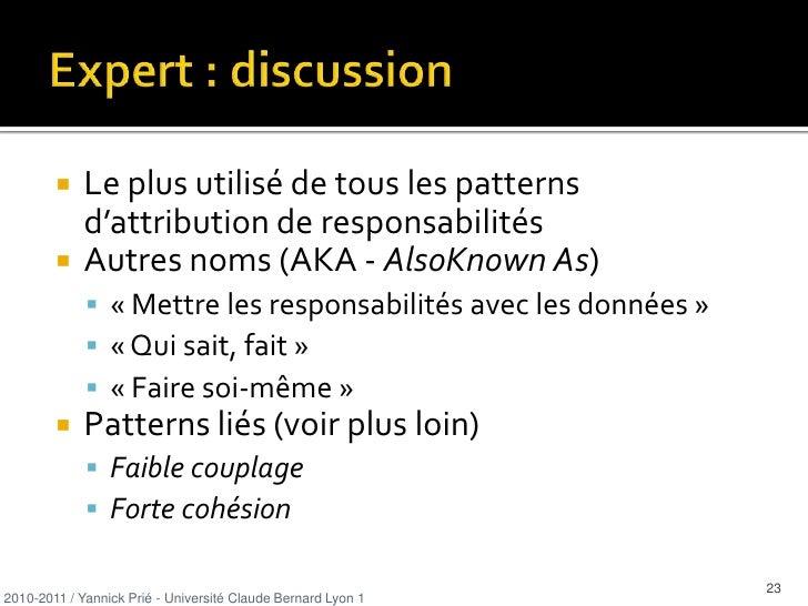 Plan<br />Introduction sur les patterns<br />Patrons GRASP <br />Design patterns<br />2010-2011 / Yannick Prié - Universit...