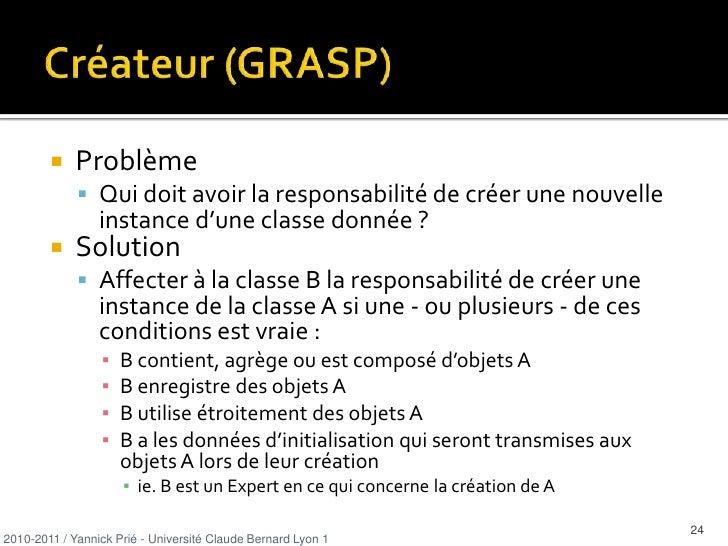 Généralités sur les patterns<br />Pattern<br />solution classique à un problème de conception classique dans un contexte d...