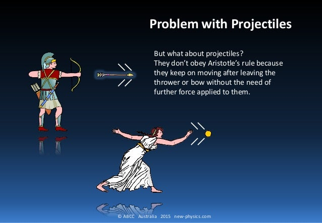 © ABCC Australia 2015 new-physics.com Problem with Projectiles But what about projectiles? They don't obey Aristotle's rul...