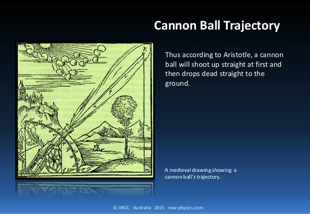 © ABCC Australia 2015 new-physics.com Cannon Ball Trajectory Thus according to Aristotle, a cannon ball will shoot up stra...