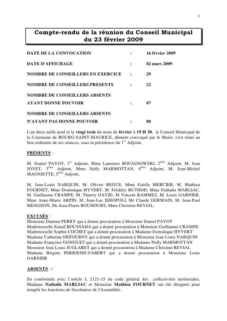 1      Compte-rendu de la réunion du Conseil Municipal                  du 23 février 2009  DATE DE LA CONVOCATION        ...
