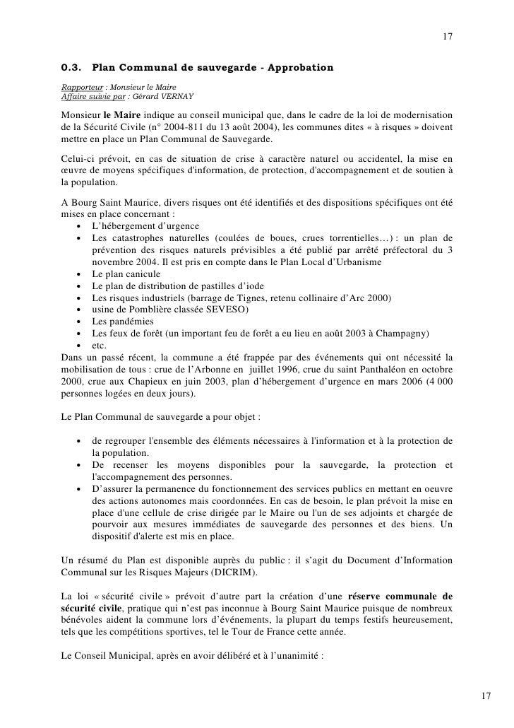 17  0.3.    Plan Communal de sauvegarde - Approbation Rapporteur : Monsieur le Maire Affaire suivie par : Gérard VERNAY  M...
