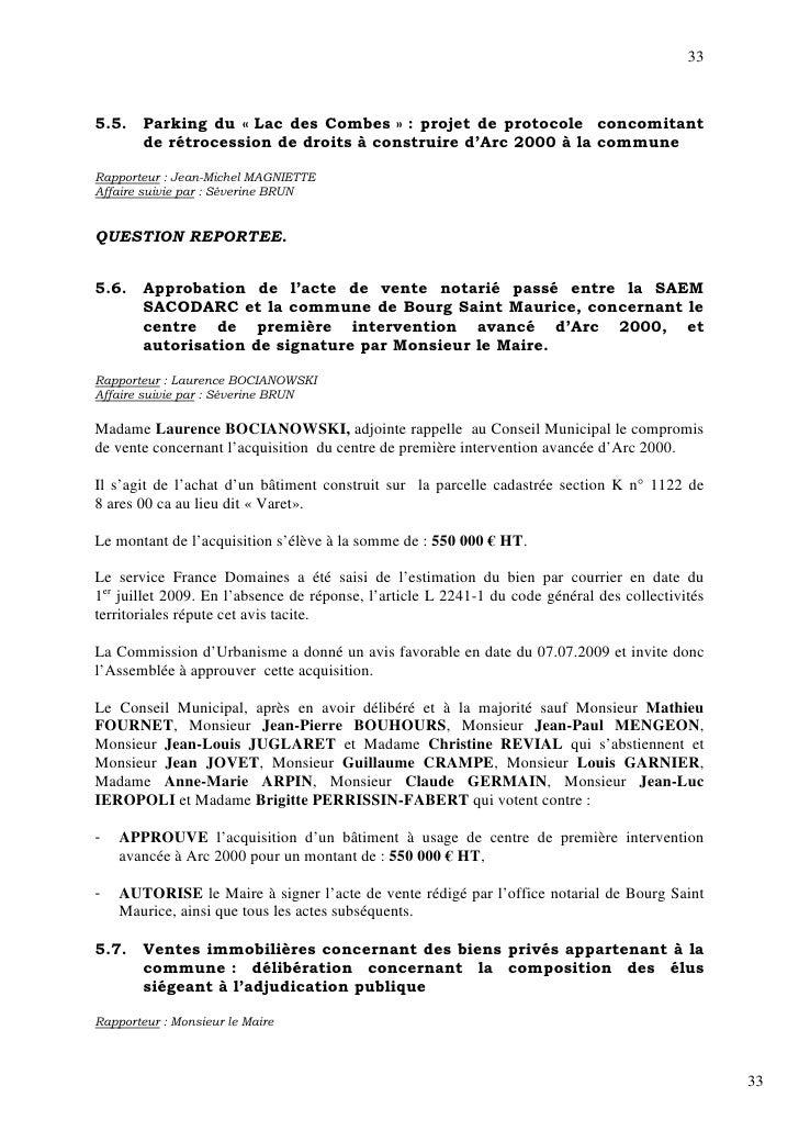 33    5.5.    Parking du « Lac des Combes » : projet de protocole concomitant         de rétrocession de droits à construi...
