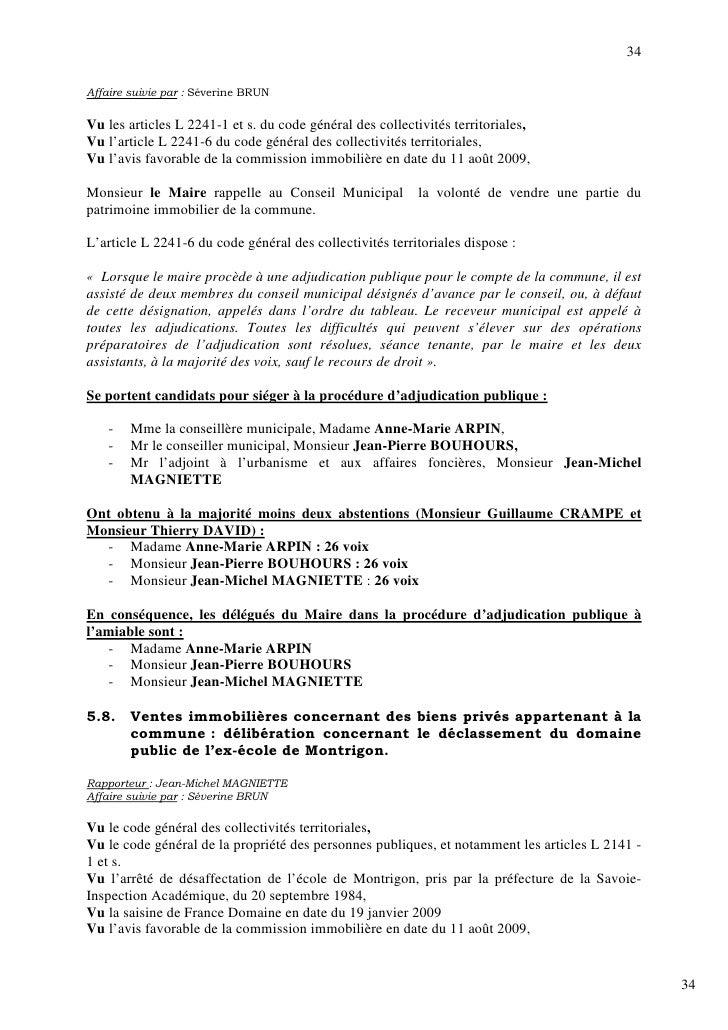 34  Affaire suivie par : Séverine BRUN  Vu les articles L 2241-1 et s. du code général des collectivités territoriales, Vu...