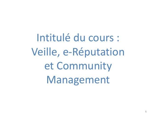 Intitulé du cours : Veille, e-Réputation et Community Management 6