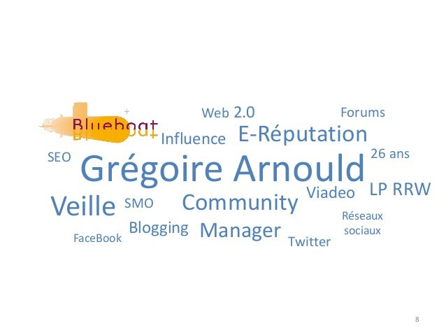8 Grégoire Arnould Community Manager 26 ans LP RRW E-RéputationInfluence Veille Blogging Web 2.0 SEO Réseaux sociaux SMO T...