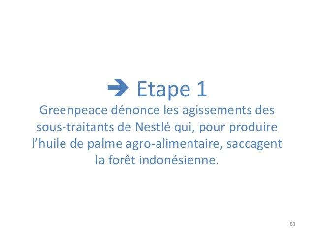88 Greenpeace dénonce les agissements des sous-traitants de Nestlé qui, pour produire l'huile de palme agro-alimentaire, s...
