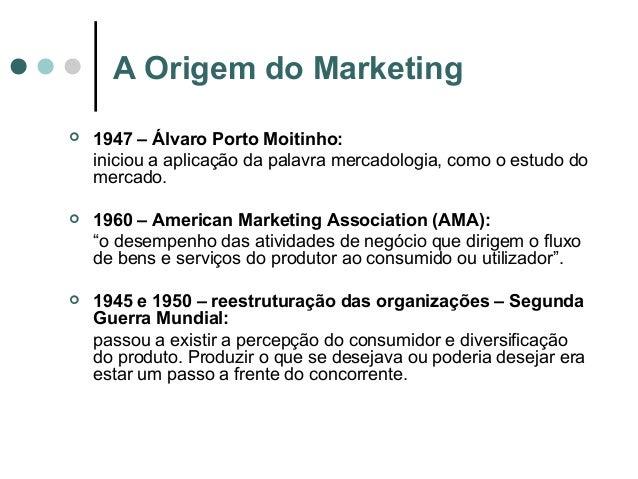 A Origem do Marketing  1947 – Álvaro Porto Moitinho: iniciou a aplicação da palavra mercadologia, como o estudo do mercad...