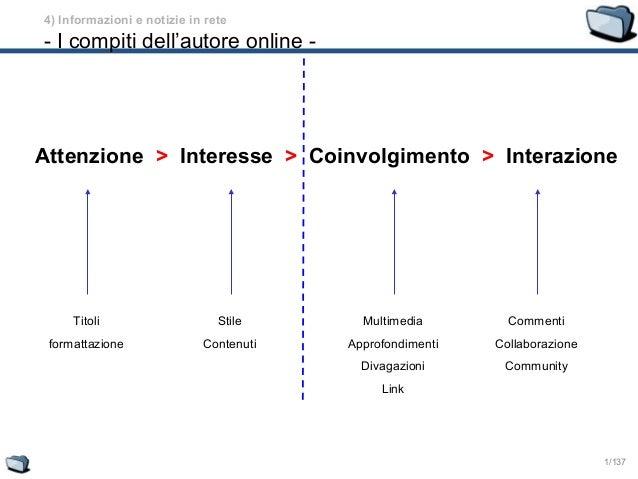 1/137 Attenzione > Interesse Titoli formattazione Stile Contenuti Multimedia Approfondimenti Divagazioni Link Commenti Col...
