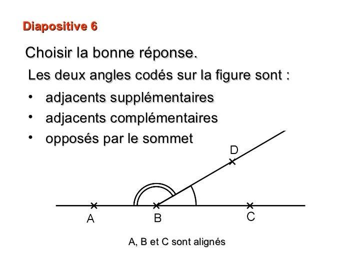 Diapositive 6 Choisir la bonne réponse. A, B et C sont alignés <ul><li>Les deux angles codés sur la figure sont : </li></u...