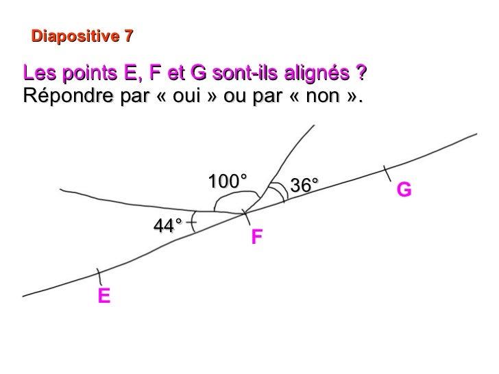 Diapositive 7 Les points E, F et G sont-ils alignés ?   Répondre par «oui» ou par «non». E G F 44° 100° 36°