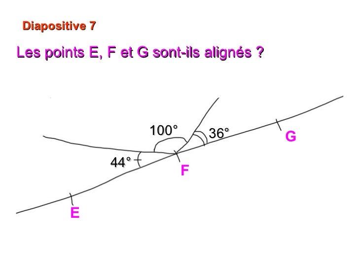Diapositive 7 Les points E, F et G sont-ils alignés ?   Oui , 44° +  36° + 100° = 180°. E G F 44° 100° 36°