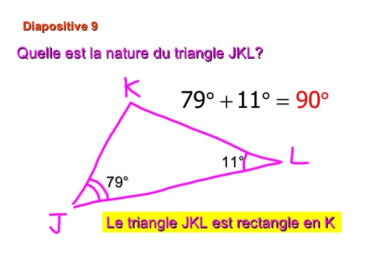 Diapositive 9 Quelle est la nature du triangle JKL? 11° 79° Le triangle JKL est rectangle en K