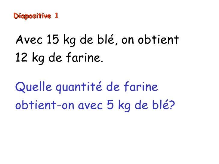 Diapositive 1Avec 15 kg de blé, on obtient12 kg de farine.Quelle quantité de farineobtient-on avec 5 kg de blé?