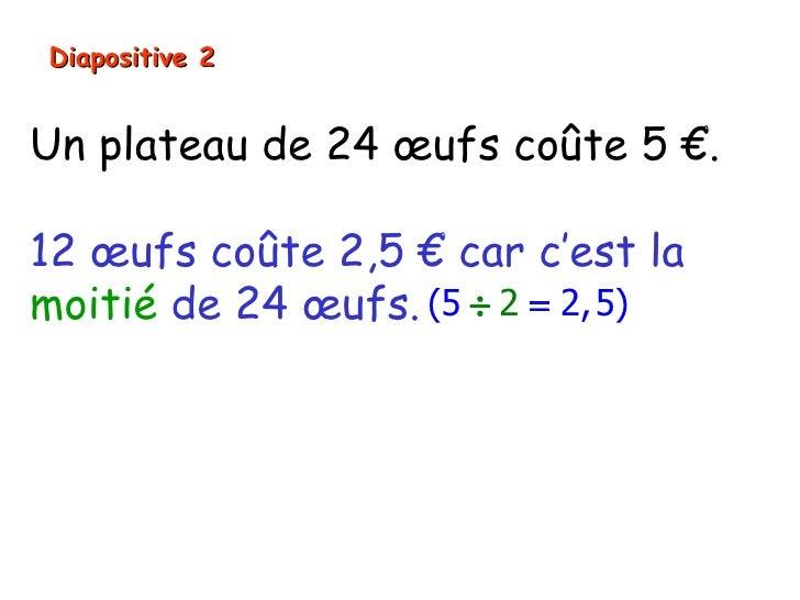 Diapositive 2Un plateau de 24 œufs coûte 5 €.12 œufs coûte 2,5 € car c'est lamoitié de 24 œufs. (5 ÷ 2 = 2, 5)Comme 12 + 2...
