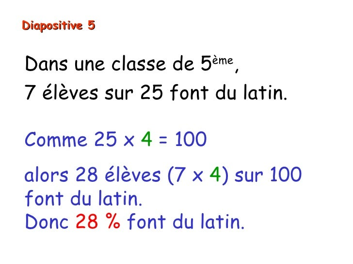 Diapositive 5Dans une classe de 5ème,7 élèves sur 25 font du latin.Comme 25 x 4 = 100alors 28 élèves (7 x 4) sur 100font d...