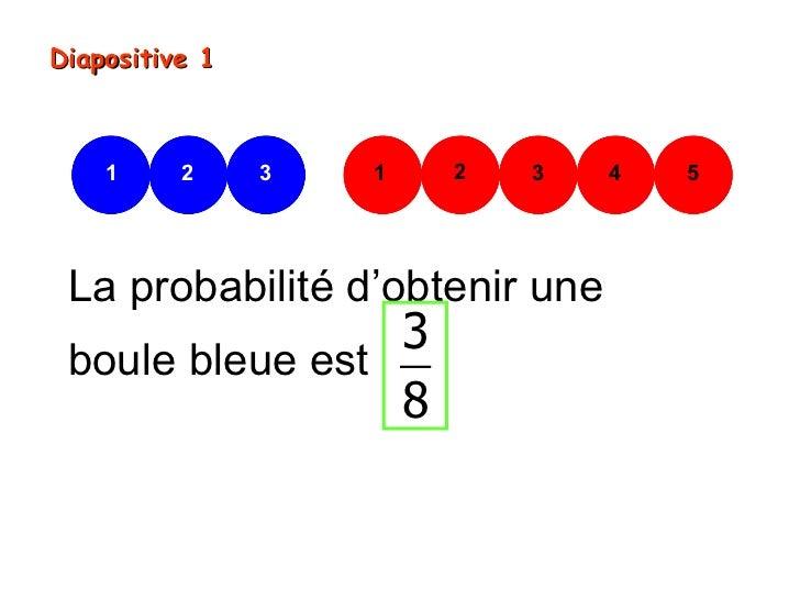 Diapositive 1    1     2     3   1   2   3   4   5 La probabilité d'obtenir une                 3 boule bleue est         ...