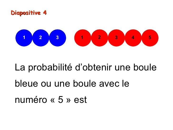 Diapositive 4    1     2     3   1   2   3   4   5 La probabilité d'obtenir une boule bleue ou une boule avec le numéro « ...