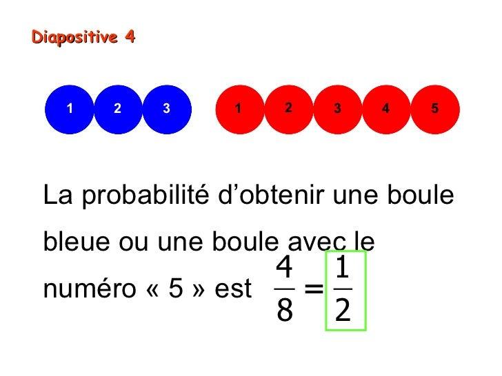 Diapositive 4    1     2     3   1   2   3   4   5 La probabilité d'obtenir une boule bleue ou une boule avec le          ...