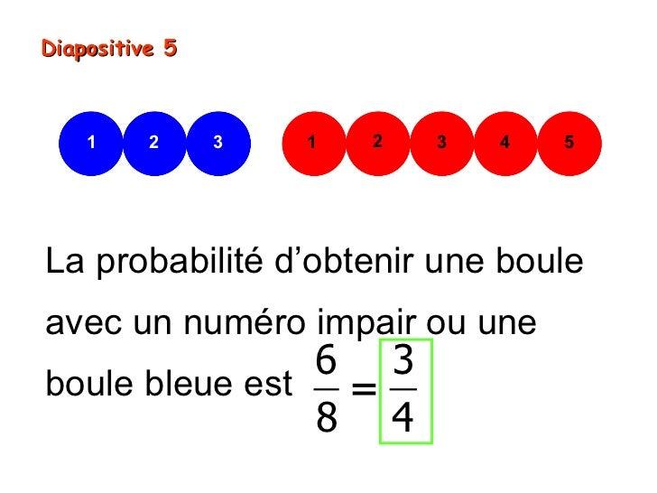 Diapositive 5    1     2     3   1   2   3   4   5La probabilité d'obtenir une bouleavec un numéro impair ou une          ...