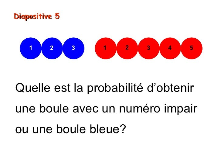 Diapositive 5    1     2     3   1   2   3   4   5Quelle est la probabilité d'obtenirune boule avec un numéro impairou une...