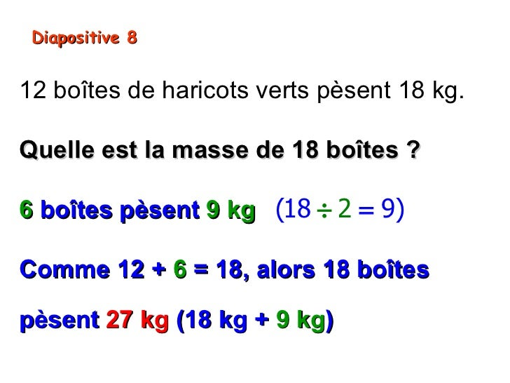 Diapositive 812 boîtes de haricots verts pèsent 18 kg.Quelle est la masse de 18 boîtes ?6 boîtes pèsent 9 kg (18 ÷ 2 = 9)C...