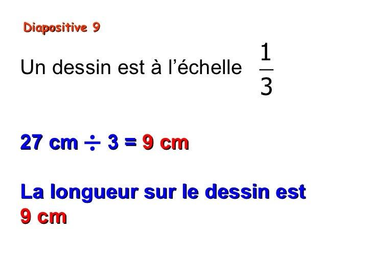 Diapositive 9                          1Un dessin est à l'échelle                          327 cm ÷ 3 = 9 cmLa longueur su...