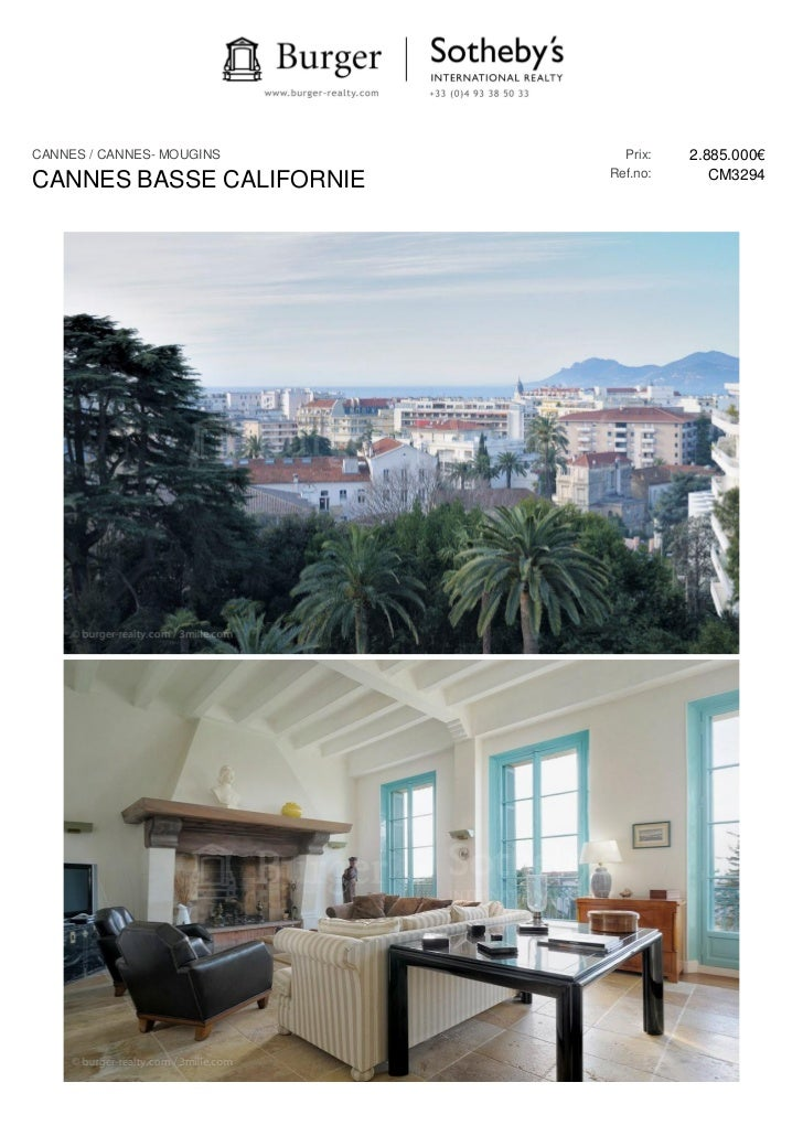 CANNES / CANNES- MOUGINS     Prix:   2.885.000€                           Ref.no:      CM3294CANNES BASSE CALIFORNIE