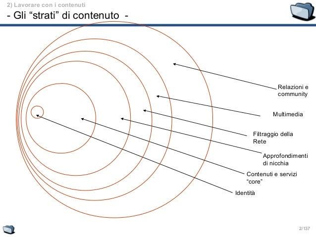 """2/137 Identità Contenuti e servizi """"core"""" Approfondimenti di nicchia Relazioni e community Multimedia Filtraggio della Ret..."""