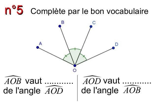 nn°°55  Complète par le bon vocabulaire  A O B vaut ............  de l'angleAOD AOB  A O D vaut ............  de l'ang...