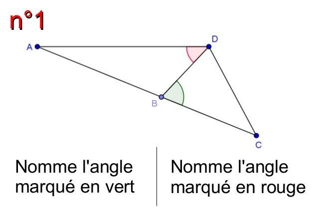 nn°°11  Nomme l'angle  marqué en vert  Nomme l'angle  marqué en rouge