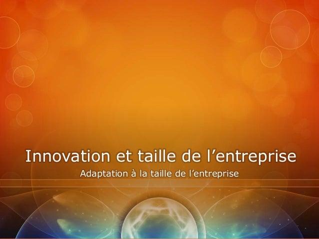 Innovation et taille de l'entreprise       Adaptation à la taille de l'entreprise